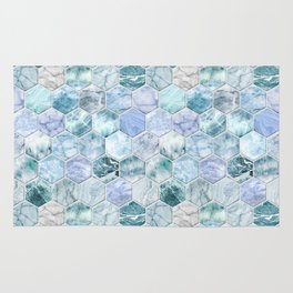 Ice Blue and Jade Stone and Marble Hexagon Tiles Rug