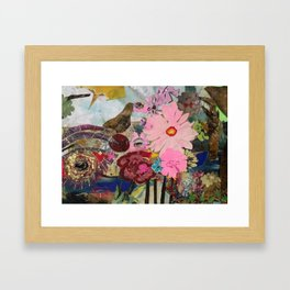 Birds Eyes and Pink Flowers Framed Art Print