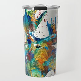Colorful Moose Art - Confetti - By Sharon Cummings Travel Mug