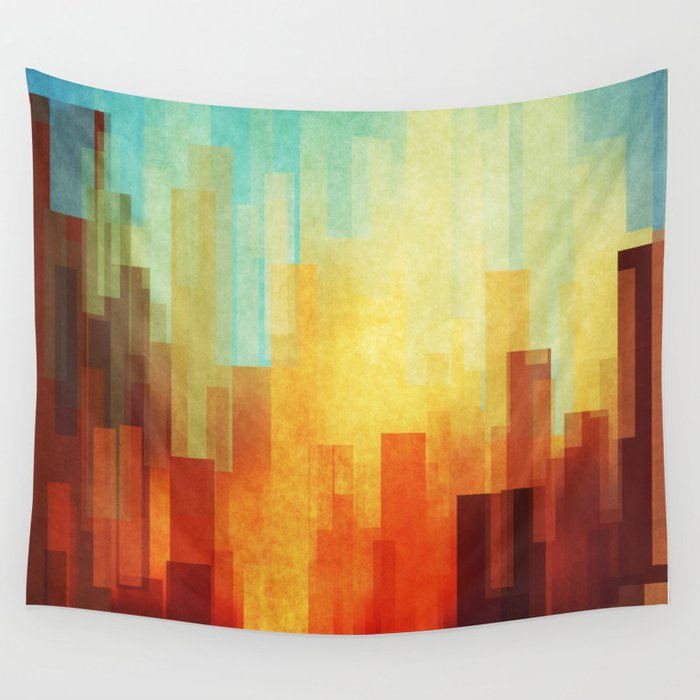 Urban sunset Wall Tapestry by sensualpatterns | Society6