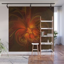 Burning, Abstract Fractal Art With Warmth Wall Mural