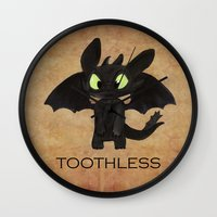 toothless Wall Clocks featuring Toothless  by Walko