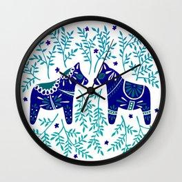 Swedish Dala Horses – Navy & Blue Palette Wall Clock