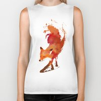 is the new black Biker Tanks featuring Vulpes vulpes by Robert Farkas