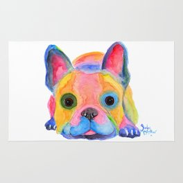 Nosey Dog French Bulldog ' AM I FRENCH ? ' by Shirley MacArthur Rug