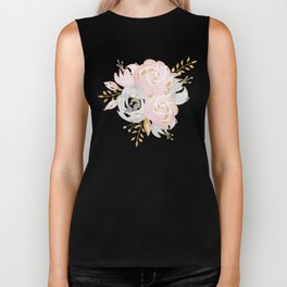 Roses Gold Glitter Pink by Nature Magick Biker Tank