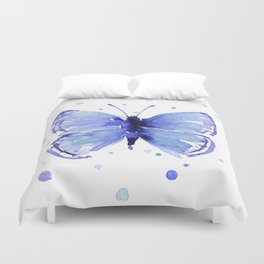 Dark Blue Butterfly Watercolor Duvet Cover