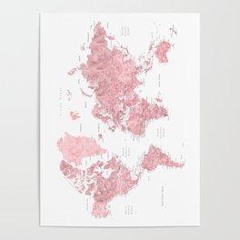Posters art prints society6 light pink muted pink and dusty pink watercolor world map with cities poster gumiabroncs Image collections