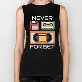 Never Forget Floppy Disk VHS and Casette Tapes  Biker Tank