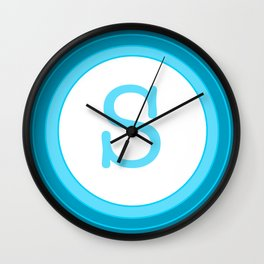 Blue letter s Wall Clock