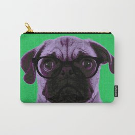 Geek Pug in Green Background Carry-All Pouch