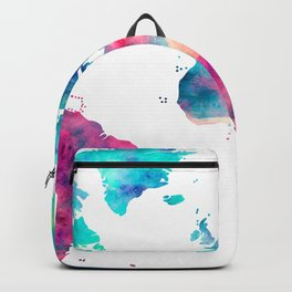 World Map Turquoise Pink Blue Green Backpack