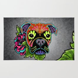Boxer in Fawn - Day of the Dead Sugar Skull Dog Rug