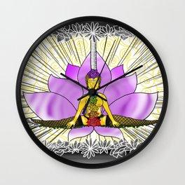 Chakras With Lotus Wall Clock