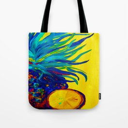 Blue Pineapple Abstract Tote Bag