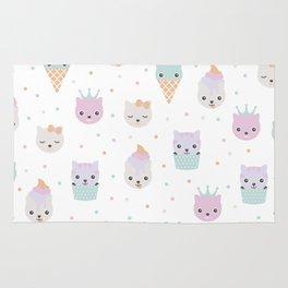 Kawaii breeze summer kitty cupcake cats and snow one ice cream kittens Rug