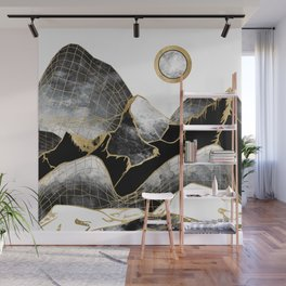 Minimal Black and Gold Mountains Wall Mural