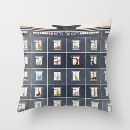 hotel for cats Throw Pillow