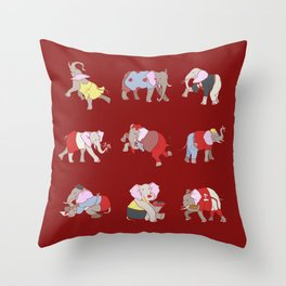 Elephants in College Throw Pillow