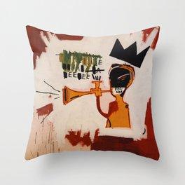 basquiat trumpet Throw Pillow