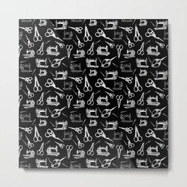 Antique Sewing // Black Metal Print