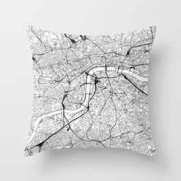 London White Map Throw Pillow