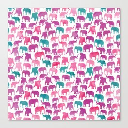 Watercolor Elephant Stampede Pretty Pattern Canvas Print