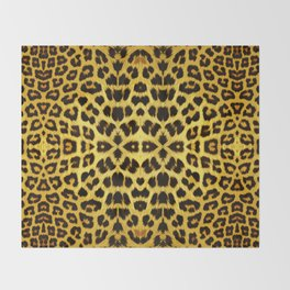 Leopard Print - Gold Throw Blanket