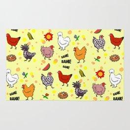 Cute seamless chickens pattern cartoon Rug