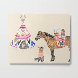 Family with horse, fox, rabbit, owl Metal Print