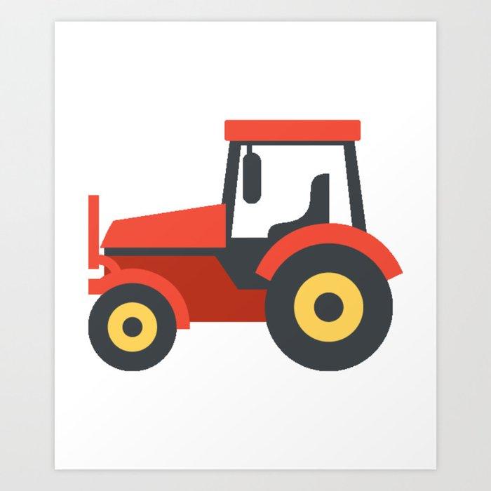 Red Farming Tractor Emoji Art Print by azza1070 | Society6
