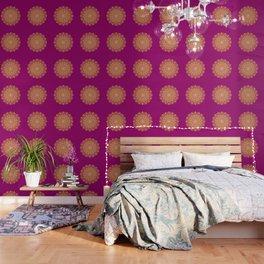 Gold yoga mandala Indian henna pattern Wallpaper