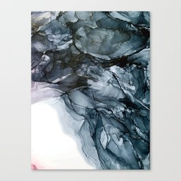 Dark Payne's Grey Flowing Abstract Painting Canvas Print