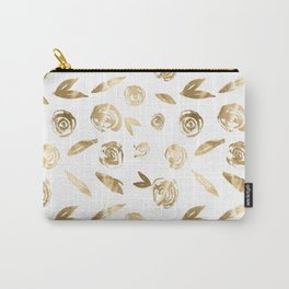Gold Roses Rosette Pattern Golden on White Carry-All Pouch
