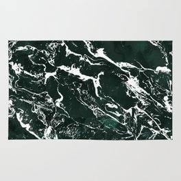 Dark green forest watercolor white marble christmas pattern Rug