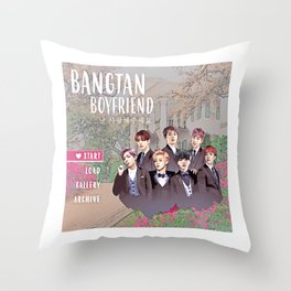 Bangtan Boyfriend Dating Sim Throw Pillow