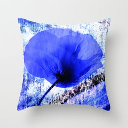 Blau Poppy vintage 222 Throw Pillow