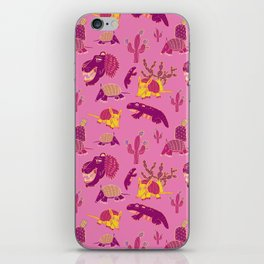 Desert Animals in Pink with Yellow Armadillo iPhone Skin