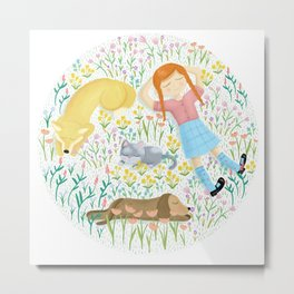 Summer Afternoon With Dogs, Cats And Clouds Metal Print