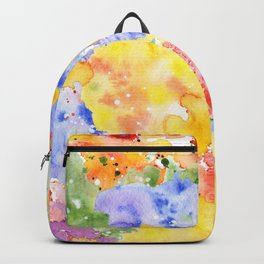 Modern whimsical pink purple yellow hand painted watercolor Backpack