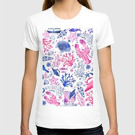Hand painted blush pink blue watercolor nautical sea pattern T-shirt