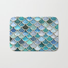 Multicolor Aqua Mermaid Scales - Beautiful Abstract Glitter Pattern Bath Mat