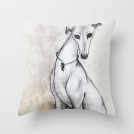 The Greyhound Wearing His Thorn Throw Pillow