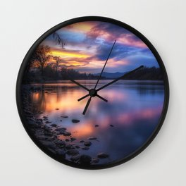 The Edge of Night sunset on the Sacramento River Wall Clock