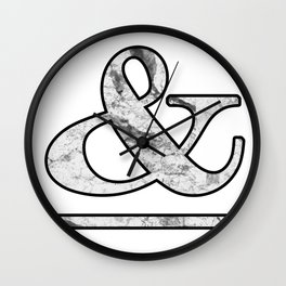 Dramatic white marble ampersand Wall Clock