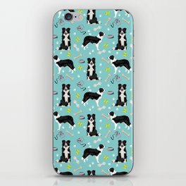 Border Collie tennis ball cute pet portrait by pet friendly dog patterns dog breed gifts iPhone Skin