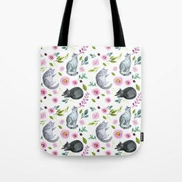 Watercolor Cats and Flowers Pattern Tote Bag