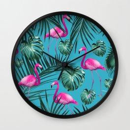 Tropical Flamingo Pattern #4 #tropical #decor #art #society6 Wall Clock