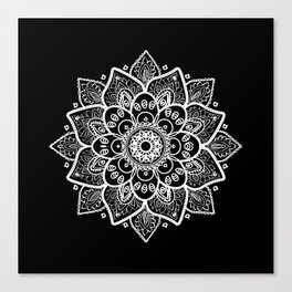 White Mandala On Black Canvas Print