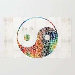 Yin And Yang - Colorful Peace - By Sharon Cummings Rug
